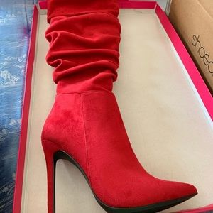 Thigh high red heel boots